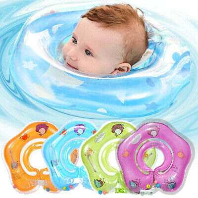 Baby Swim Ring Neck Collar Floating For Toddlers PVC Inflatable Dual Handle UK~