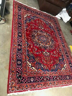 """Oriental Vintage Geometric original hand knotted rug approx 80"""" x 112"""""""