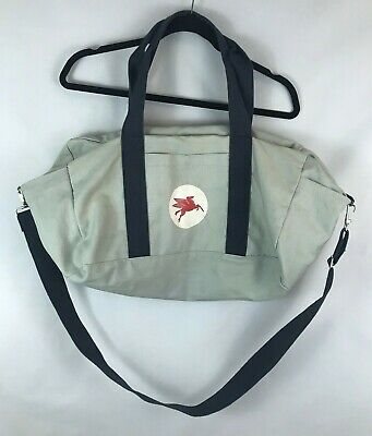 Vintage Mobil Oil Shoulder Bag Canvas Duffle w/ Side Pockets Rare Collectible