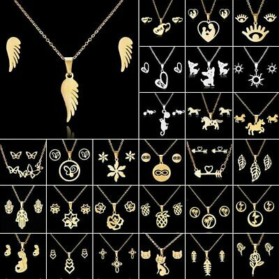 Fashion Gold Stainless Steel Jewelry Set Women Pendant Necklace Earrings Wedding
