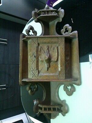 Antique black forest oak wood carved wall cabinet 1900s FREE POSTAGE