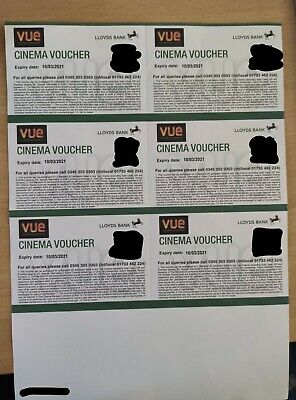 6x vue cinema tickets. Expires 10th March 2021. From Club Lloyds