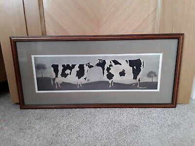 Warren Kimble Kissing Cows Folk Art Framed Print. Approx 25 x 11.5 inch