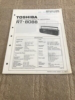 Toshiba RT-8088 Radio Cassette Recorder Service Manual