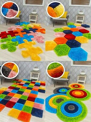 Bright Thick Multi Colour Rug Mat Kids Bedroom Playroom Soft Shaggy Design