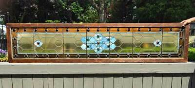 Antique STAINED GLASS TRANSOM WINDOW  xtra large