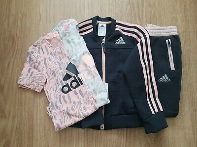 Girls Adidas Tracksuit And T Shirts Age 5-6 Years