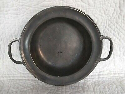 Old World Pewter Primitive Colonial Serving Bowl With Handles Lead Free Usa