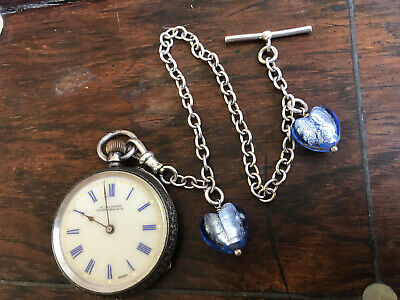 Stunning Antique Solid Silver Pocket - Fob Watch. & Chain. For Repair.