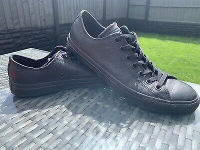 Converse All Star Ox Mono Chuck Black Leather Low Top - UK 10, Great Condition