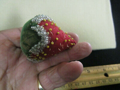 Antique Victorian Strawberry Beaded Emery Pincushion  Large Size 2 1/2 Inches