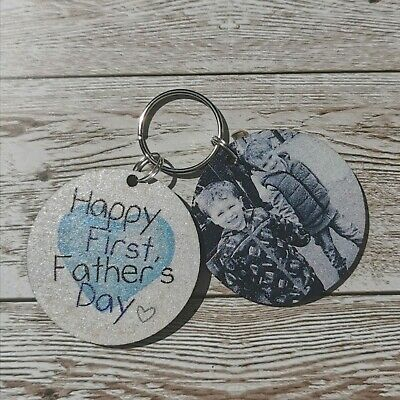 Personalised First Fathers Day Keyring Father Daddy Pops From Son Daughter