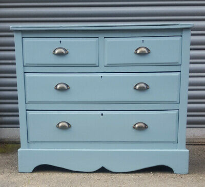 Antique Victorian Pitch Pine Chest Drawers - Painted
