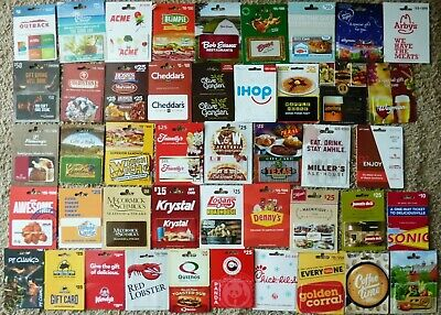 Gift Card LOT of 45 - FOOD Restaurant - White Castle,Panda, Friendly's -No Value