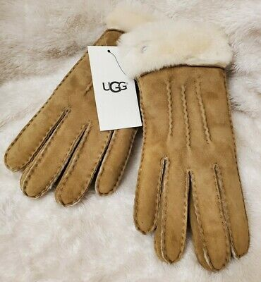 NWT UGG Women's Shearling Sheepskin Suede Leather Gloves Chestnut  Size M