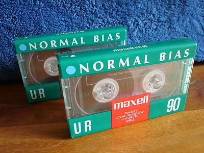 (2) Maxell UR90 IEC I Normal Bias Audio 90 Minutes Cassette Tapes. New, Sealed.