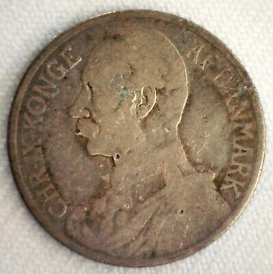 1905 Danish West Indies Silver 20 Cents/Franc Coin Circulated Fine