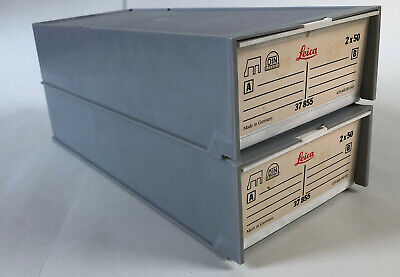 2 Leica Slide Magazine Boxes with 2x50 35mm Slide Trays 37855
