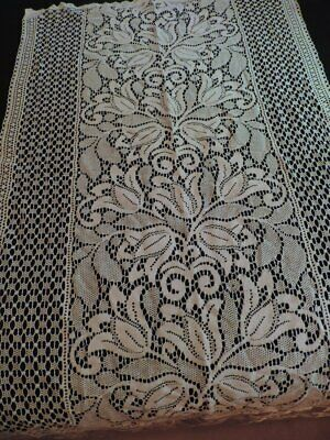 2 Vtg Rue De France Newport RI Lace Rod Curtain Panels Tulips Antq. White #2