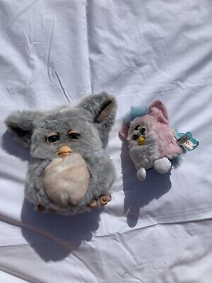 PAIR OF FURBY TOYS PINK AND GREY. Baby Furby With Labels