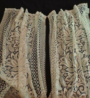 2 Vtg Rue De France Newport RI Lace Rod Curtain Panels Tulips Antq. White #4