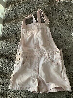 Girls Next 100% Cotton Pink Short Dungarees Aged 7 Years