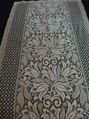 1 Vtg Rue De France Newport RI Lace Rod Curtain Panel Tulips Antq White #6