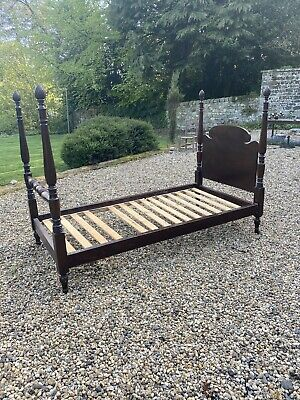 Antique American Colonial Style Bed Primitive Country Folk Art Made In Usa