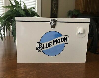 Blue Moon Beer All Metal Cooler 24 Cans  Boelter Pewaukee Collectible Brand New