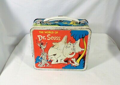 Vintage 1970 World of Dr. Seuss Metal Lunchbox Cat in the Hat