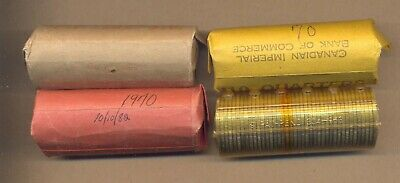 Canada 1970 Circulated Lot of 4 ROLLS of 40 X 25 cents picked in period