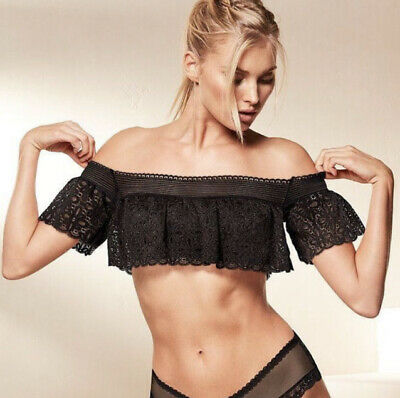 Victoria's Secret Size XS Sexy Lace Off Shoulder Ruffle Bralette Top Black NWT