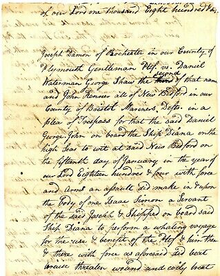 "1804 Early Whaling Doc>ABUSE OF ISSAC SERVANT ABOARD SHIP ""DIANA"" WHALER"