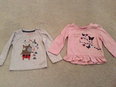 BABY GIRL 2 x LONG SLEEVED TOPS BUNDLE PINK & BUTTERFLIES, GREY AGE 6-9 MONTHS