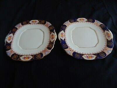 Salisbury  China ~ Stratton ~ Cobalt Blue ,Gold , Floral  2 Vintage Cake Plates