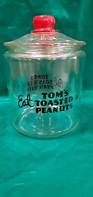 VINTAGE EAT TOM'S TOASTED PEANUTS 5 CENTS JAR WiTH RED TOM'S HANDLE