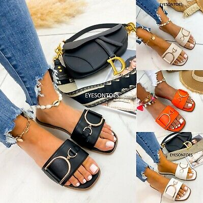Ladies Womens Slip On Slides Mules Buckle Summer Beach Hoilday Sandals Shoes Sz