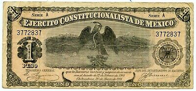 Genuine 1914 Constitutional Army of Mexico 1 Peso