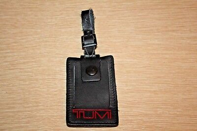 TUMI Black Leather Replacement Travel ID Luggage Bag Hang Tag Charm
