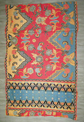 """Indonesian Hand Printed Floral Batik Fabric 1990'S 43"""" By 67"""""""