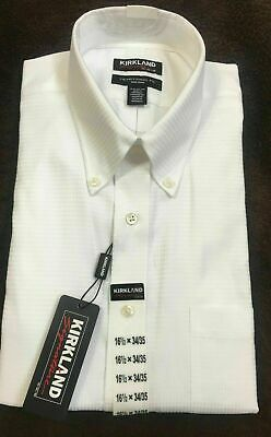 Kirkland Signature Mens Button Down Shirt Textured White,XL 17.5x36//37