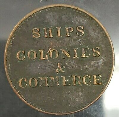 Canadain 1857 Ships Colonies & Commerce 1/2 Penny Token