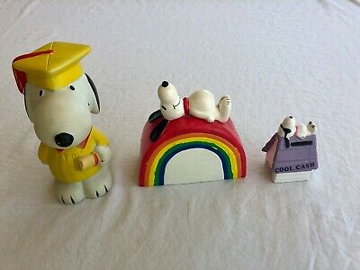 Lot of 3 Vintage Snoopy Banks-Graduate, Rainbow and Joe Cool