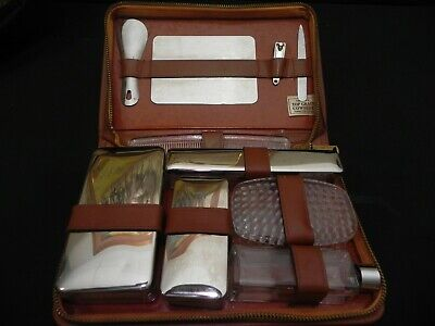 Men's Vintage Complete Top Grain Leather Travel Grooming Kit