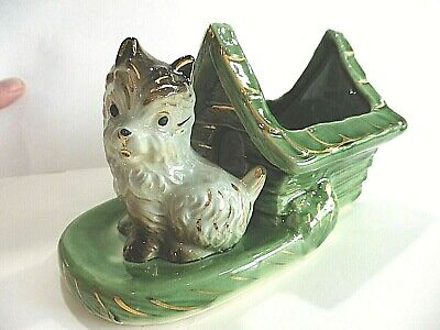 SHAWNEE GOLD TRIM TERRIER AND DOG HOUSE Planter - SHAWNEE U.S.A. -  PERFECT !