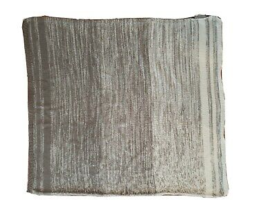 Land Of Nod Cotton Blended Knit Gray White Baby Blanket
