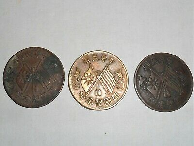 Lot of 3 nice Chinese Ten Cash coins 1912 to 1920s rare & collectible MUST SEE!!