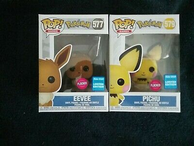 Funko Pop! POKEMON Wondercon Exclusive Set FLOCKED EEVEE #577 and PICHU #579,New