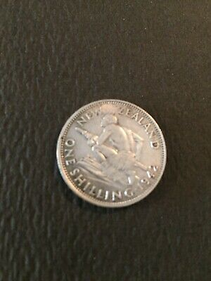 1942 New Zealand Silver one Shilling VG ; AU ?