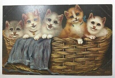Vintage Cat Postcard, By A W, 5 Kittens In Basket, Smiling!  Unposted
